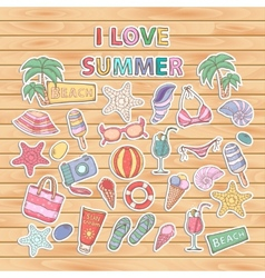 I love summer setScrapbook setSticker vector image
