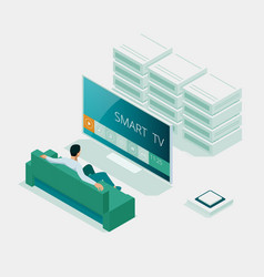 isometric concept smart tv interface vector image