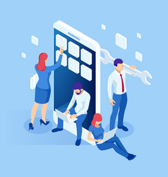 isometric web banner mobile app development vector image