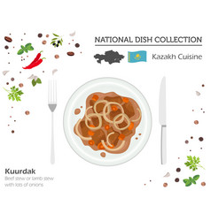 Kazakh cuisine asian national dish collection vector