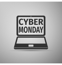 Laptop with Cyber Monday Sale text on screen flat vector