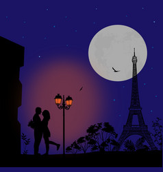 Lovers in paris at night vector