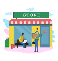 Male customer with food product bag outside store vector