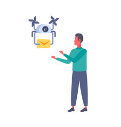 man getting paper envelope message parcel drone vector image