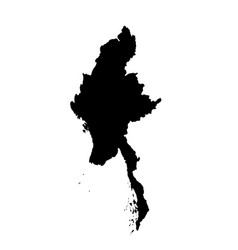 Map myanmar isolated black vector