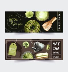 Matcha sweet banner design with macaron donut vector