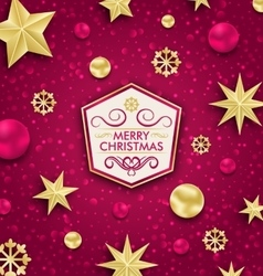 Merry Christmas Banner with Glitter Decoration vector