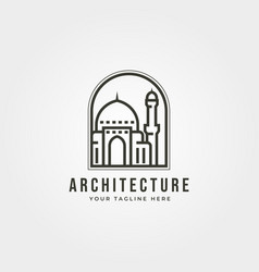 Mosque icon logo emblem design vector