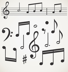 Music note collection on old paper vector