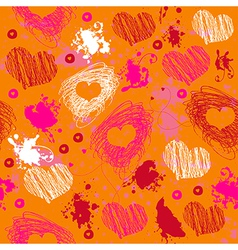 Orange texture with drawn splashes and hearts vector image