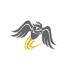 Owl fly solution logo design template isolated vector