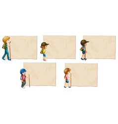 Paper template with kids with hiking stick vector