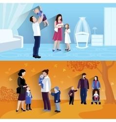 Parenthood 2 flat banners composition vector