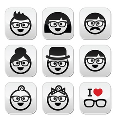 People wearing glasses geeks icons set vector