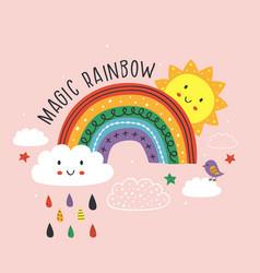 Pink poster with magic rainbow cloud bird sun vector