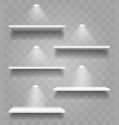 realistic shelves with shadows and spot lights set vector image