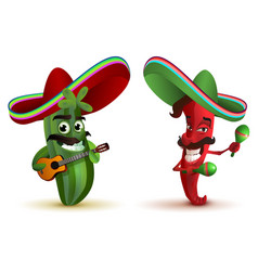 Red hot chili peppers and cactus in mexican hat vector
