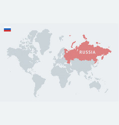 Russia on an abstract world map vector