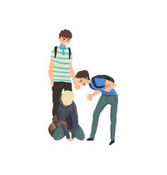 Sad teen boy sitting on floor classmates mocking vector