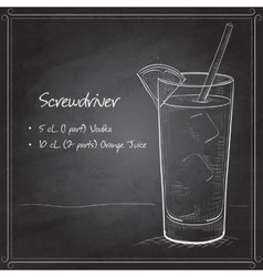 Screwdriver scetch cocktail on black board vector image