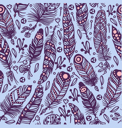 Seamless pattern with feathers in boho style vector