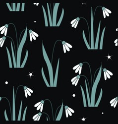 seamless pattern with first spring flowers vector image