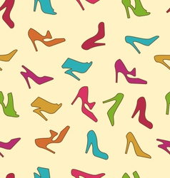Seamless Texture with Colorful Women Footwear vector image