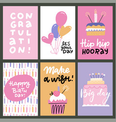 set 6 cute creative cards templates with happy vector image