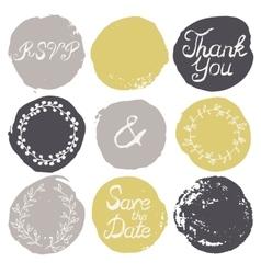 set 9 decorative wedding elements vector image
