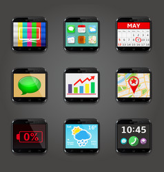 set app icons in mobile phone style vector image