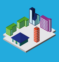 Set of isometric city buildings vector