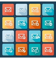 Set of sixteen mail icons for web vector image