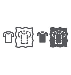 Sewing pattern line and glyph icon dressmaking vector