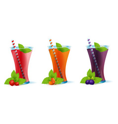 smoothie healthy berry drinks set vector image