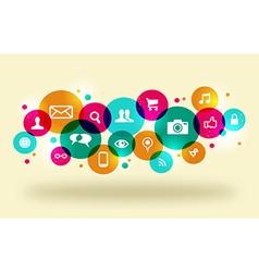 Social media network color concept vector