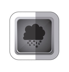 sticker gray square button with silhouette cumulus vector image