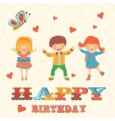Stylish Happy birthday card with cute kids jumping vector image