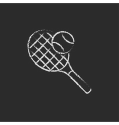 Tennis racket and ball icon drawn in chalk vector image vector image