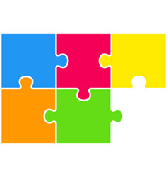 the puzzle pieces infographic six steps puzzle vector image