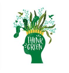 Think green concept human head plant garden vector