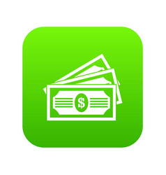 three dollar bills icon digital green vector image