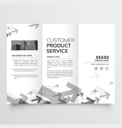 Trifold brochure design with arrow shapes vector