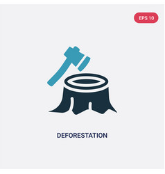 Two color deforestation icon from nature concept vector