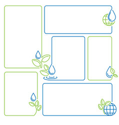 water drop sprout ecology set banner frames vector image