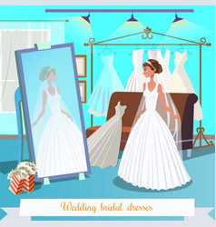 wedding bridal dresses flat vector image