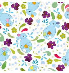 white pattern with blue bunny and flowers vector image