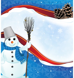 Winter background with a happy snowman vector image