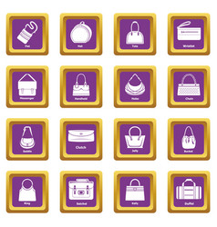 Woman bag types icons set purple square vector