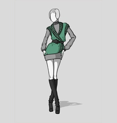 Woman in short dress with vest vector