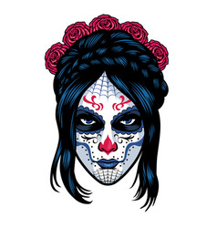 women wearing sugar skull make up vector image